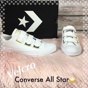 Velcro White Gold Leather All Star Nib